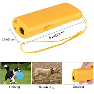 Ultrasonic Dog Repeller and Trainer Device 3 in 1 LED - Batteries not Included