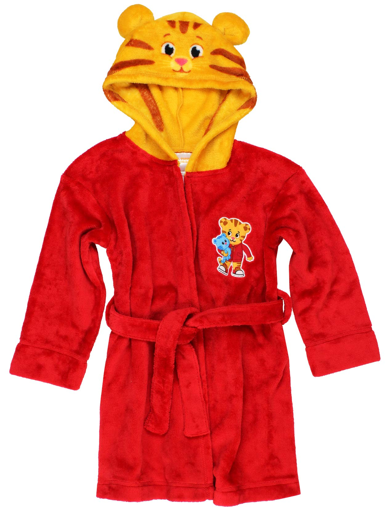 Daniel Tiger Toddler Boys Girls Hooded Plush Fleece Bathrobe Robe with Ears (3T, Red/Gold)