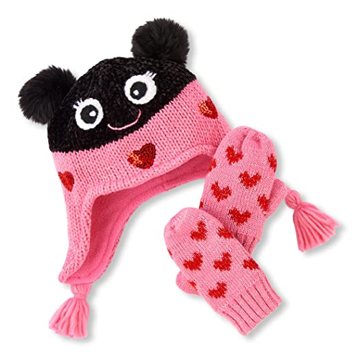 9676fb65490 Amazon.com  The Children s Place Baby Girls Critter Mitten and Hat ...