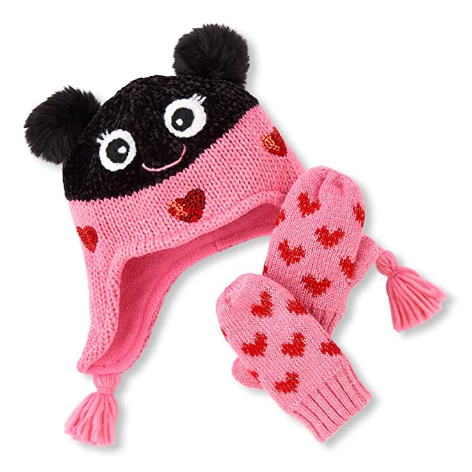 Amazon.com  The Children s Place Baby Girls Critter Mitten and Hat ... af7e1023122
