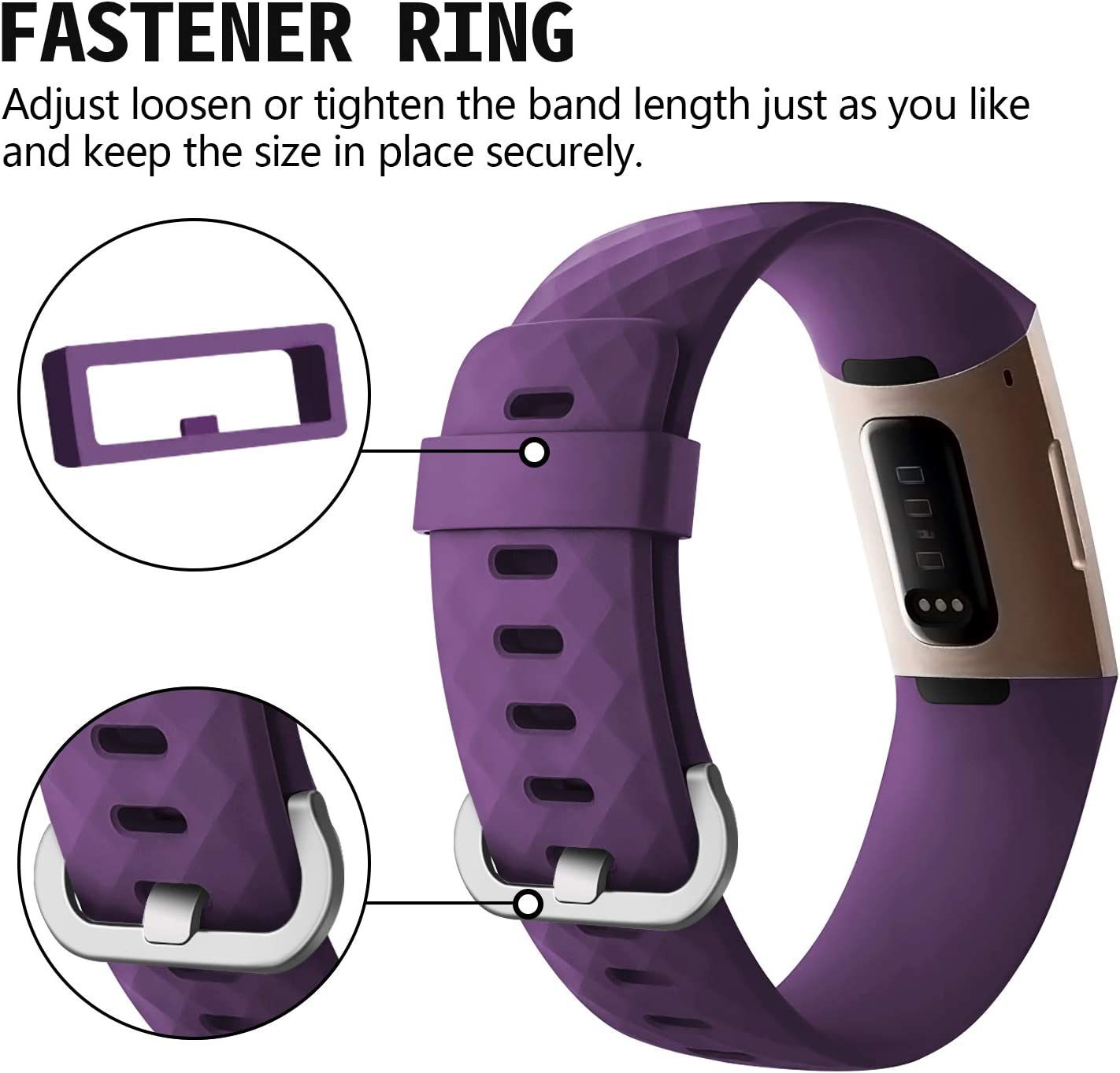 Adjustable Replacement Wristbands for Fitbit Charge 3 and Fitbit Charge 3 SE adepoy Compatible with Fitbit Charge 3 Bands for Women Men Large Small