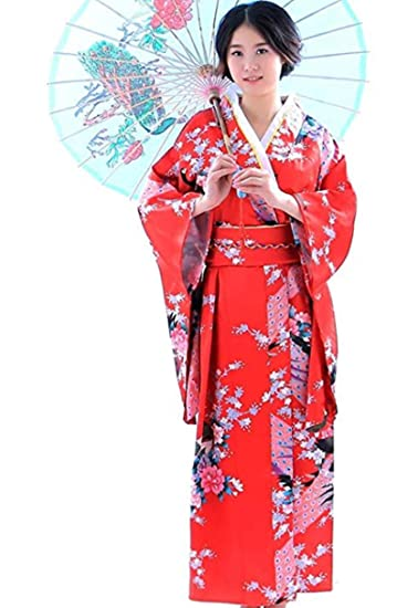 29bda33b51f Botanmu Women s Kimono Robe Japanese Dress Photography Cosplay Costume 5  Colors (Red)