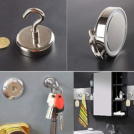 Magnet Haken 25 mm Durchmesser Neodym Magnethaken Einsatzbereich Garage Schlie/ßf/ächer B/üro K/ühlschrankmagnet Schl/üsselhalter 8 St/ück Haftkraft 18Kg Starker Magnete mit Haken