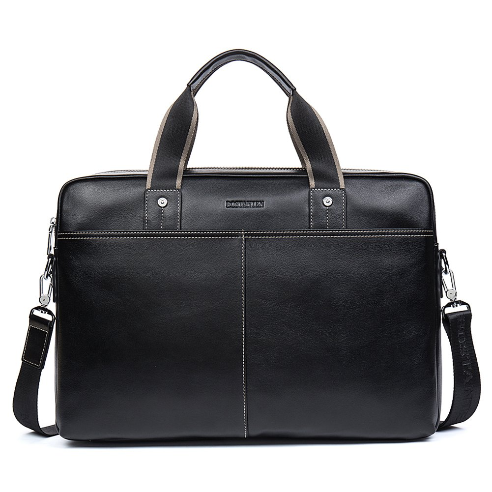 BOSTANTEN Leather Briefcase Lawyers Messenger Shoulder Laptop Business Bags Black Variation