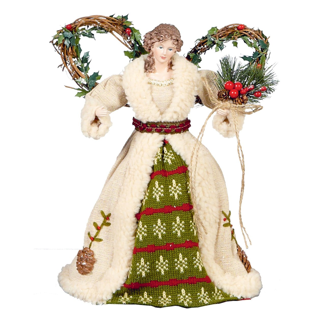 CHRISTMAS ANGEL TREE TOPPER Woodland Angel Pine Cones Berries Forest Wings 30cm 12inches Premier Decorations