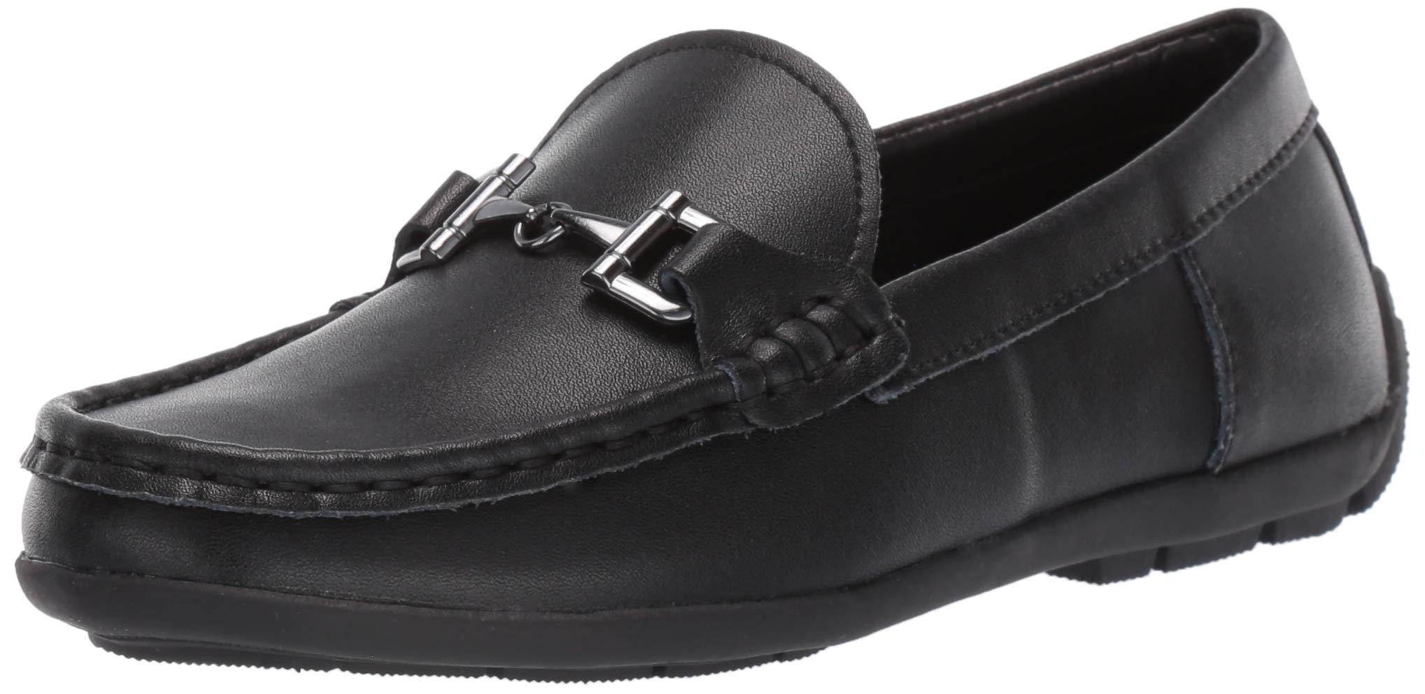 Steve Madden Boys' BLANGE Loafer Black Leather 5 M US Big Kid