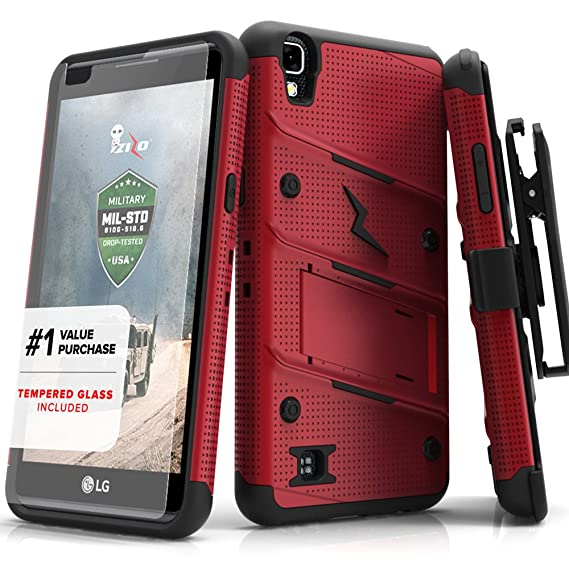 new arrival 0dd28 fffa0 Zizo Bolt Series compatilbe with LG Tribute HD Case Military Grade Drop  Tested with Tempered Glass Screen Protector Holster LG X Style RED Black