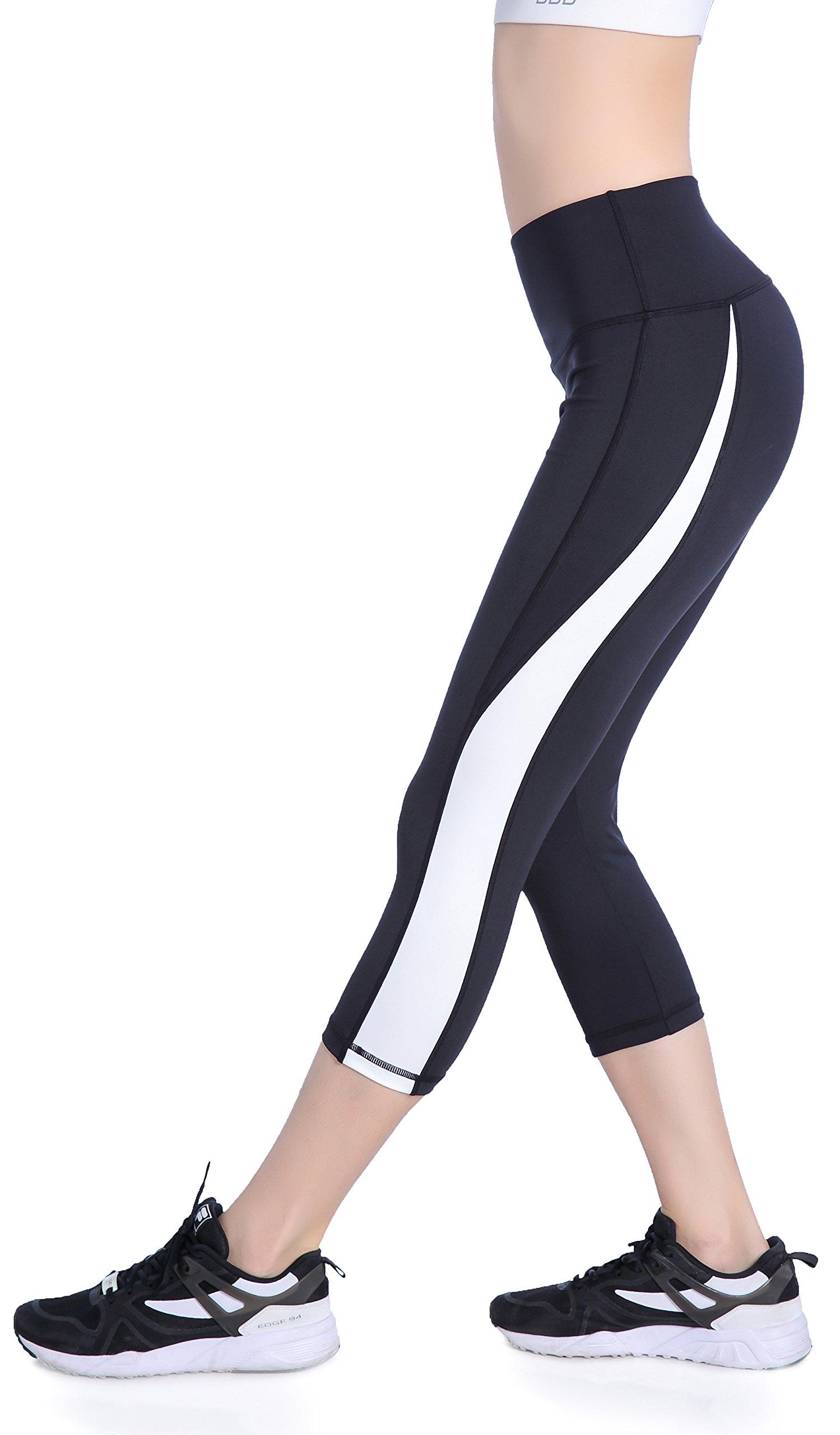 Picotee Women's Yoga Pants Workout Capri Leggings Running Tights w Side Pocket (XL, Black/White)