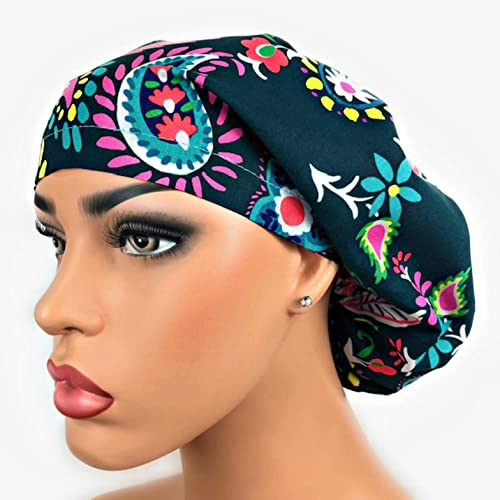 0e0e7a0bc8f Euro Surgical Scrub Hats Women s Adjustable Bouffant Cap Ponytail Green  Pink Large Paisley