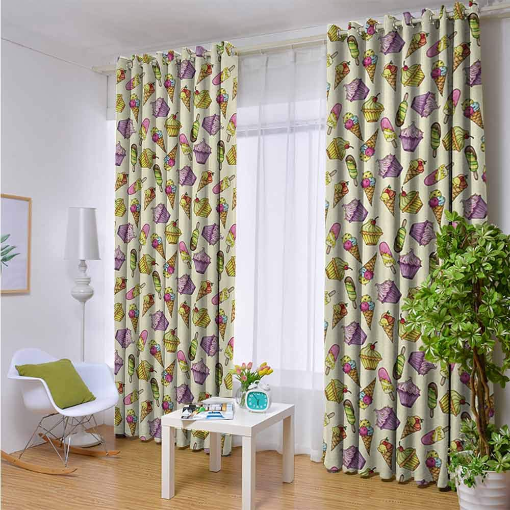 Andrea Sam Indoor/Outdoor Single Panel Print Window Curtain Ice Cream,Yummy Cupcakes Chocolate Party with Cherry Cones Fruit Sweet Kids Nursery Theme,Multicolor,W96 xL108 Silver Grommet Top Drape by Andrea Sam