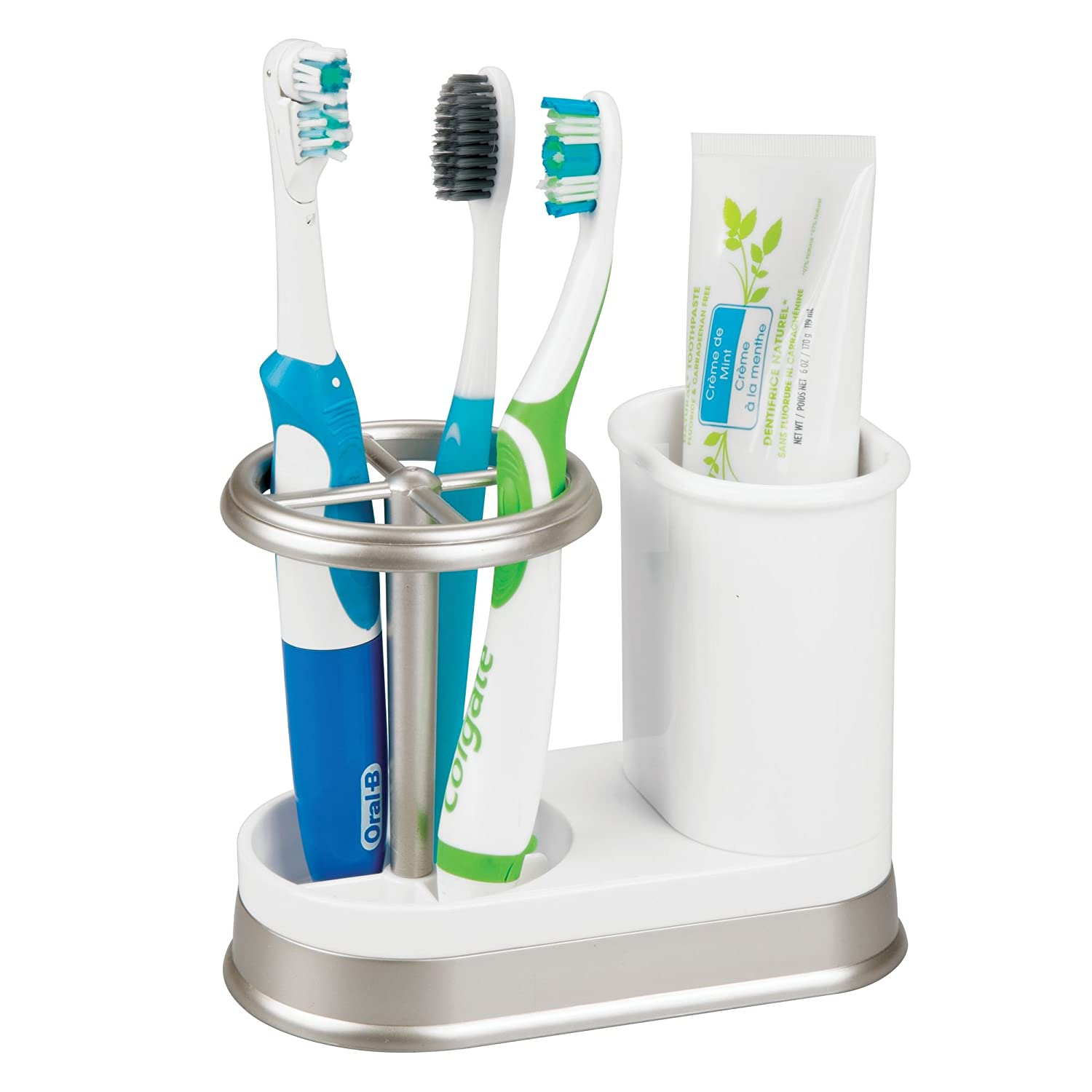 Amazon.com: mDesign Decorative Bathroom Dental Storage Organizer Holder Stand for Electric Spin Toothbrush/Toothpaste - Compact Design for Countertop and ...