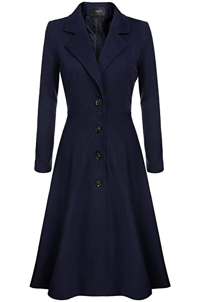 Vintage Coats & Jackets | Retro Coats and Jackets Elever Womens Casual Long Sleeve Turn-down collar A-line Flare Hem Wool Blended Dress Blazer Coats $70.99 AT vintagedancer.com