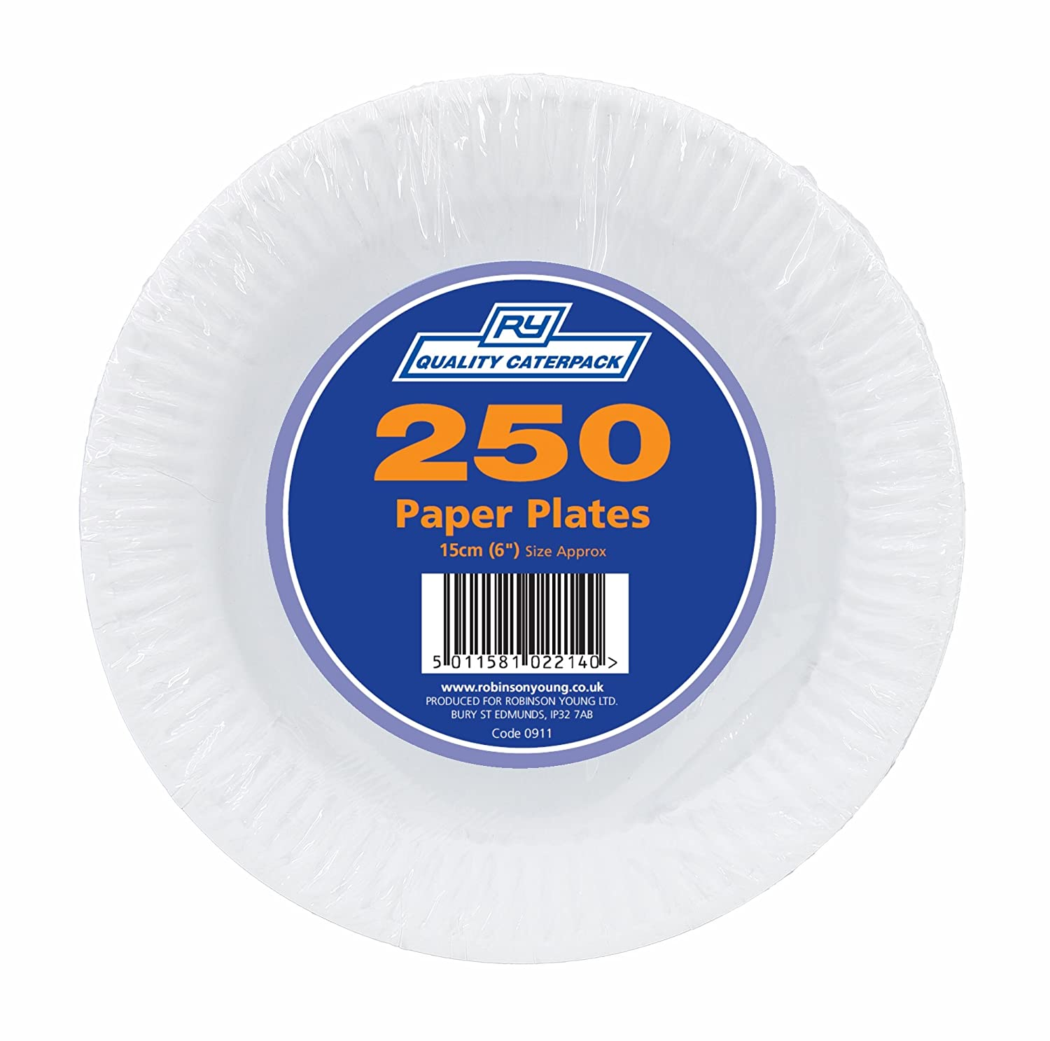 caterpack Platos de Papel, Color Blanco, 15,2  cm, 250  Unidades 2 cm 250 Unidades robinson young 00911