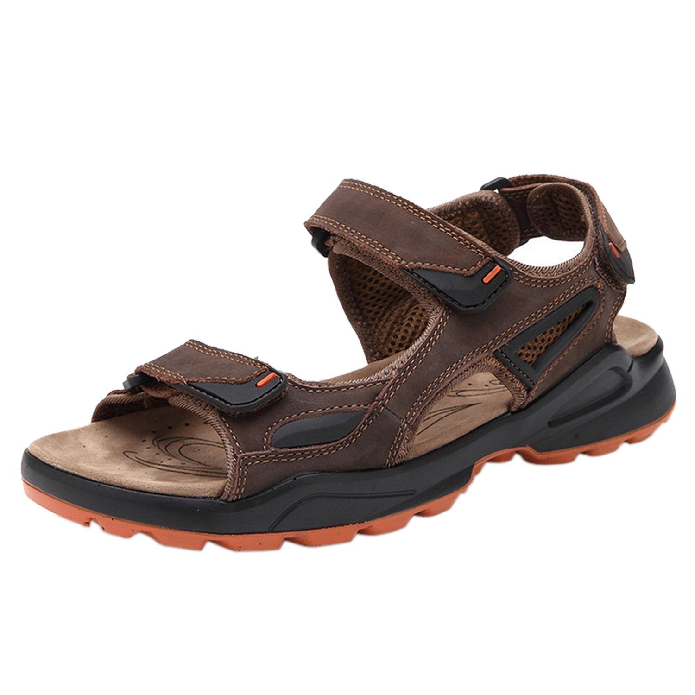 HnB Men's Outdoor Sandal Beach Leather Velcro