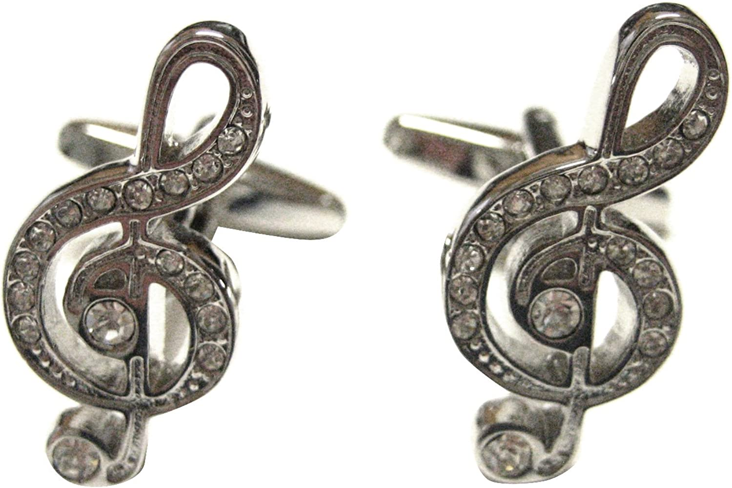 Silver Toned Crystalled Treble Musical Note Cufflinks