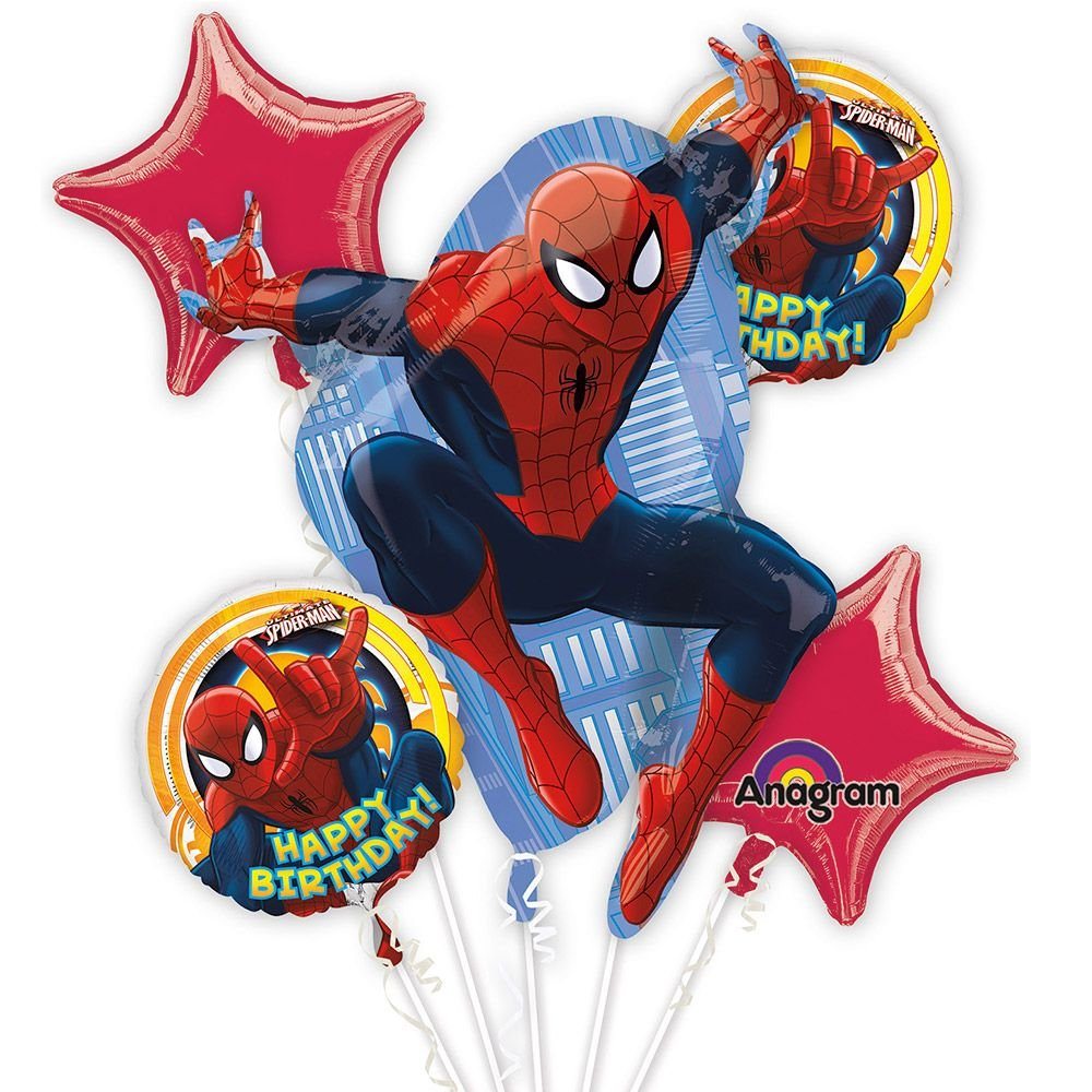 Amscan Ultimate Spider-Man Birthday Bouquet Foil Balloons Mayflower 2708901