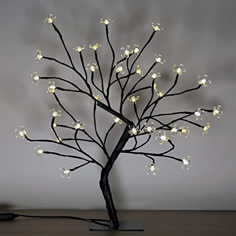 Cherry Blossom Bonsai Tree 40 Led Lights With 24v Ul Listed Adapter And Metal Base Warm White Lights Perfect For Night Lights Standard Version Home Improvement