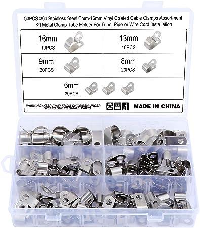 Hseamall 90 Stück 304 Edelstahl Vinylbeschichtete Kabelschellen 6 Größen 6 Mm 16 Mm Metall R Typ Kabelklemmen Kabelmontage Schlauchschelle Baumarkt