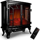 Deuba Chimenea electríca con mando a distancia y termoventilador Negro 2000V decoración interior salón 69x36x66cm