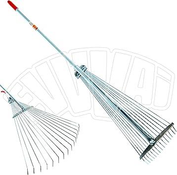 Rastrillo tipo escoba ajustable, de 152 cm, con mango de metal, para la limpieza del jardín exterior: Amazon.es: Bricolaje y herramientas