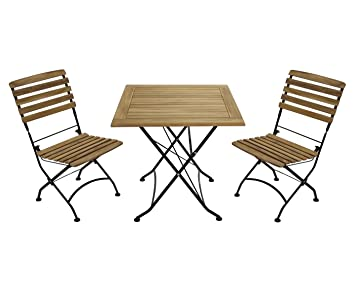 Gartentisch Und Stühle Holz.Amazon De Gartenmöbel 2 X Stuhl 1 Tisch Klapptisch 75 X 75