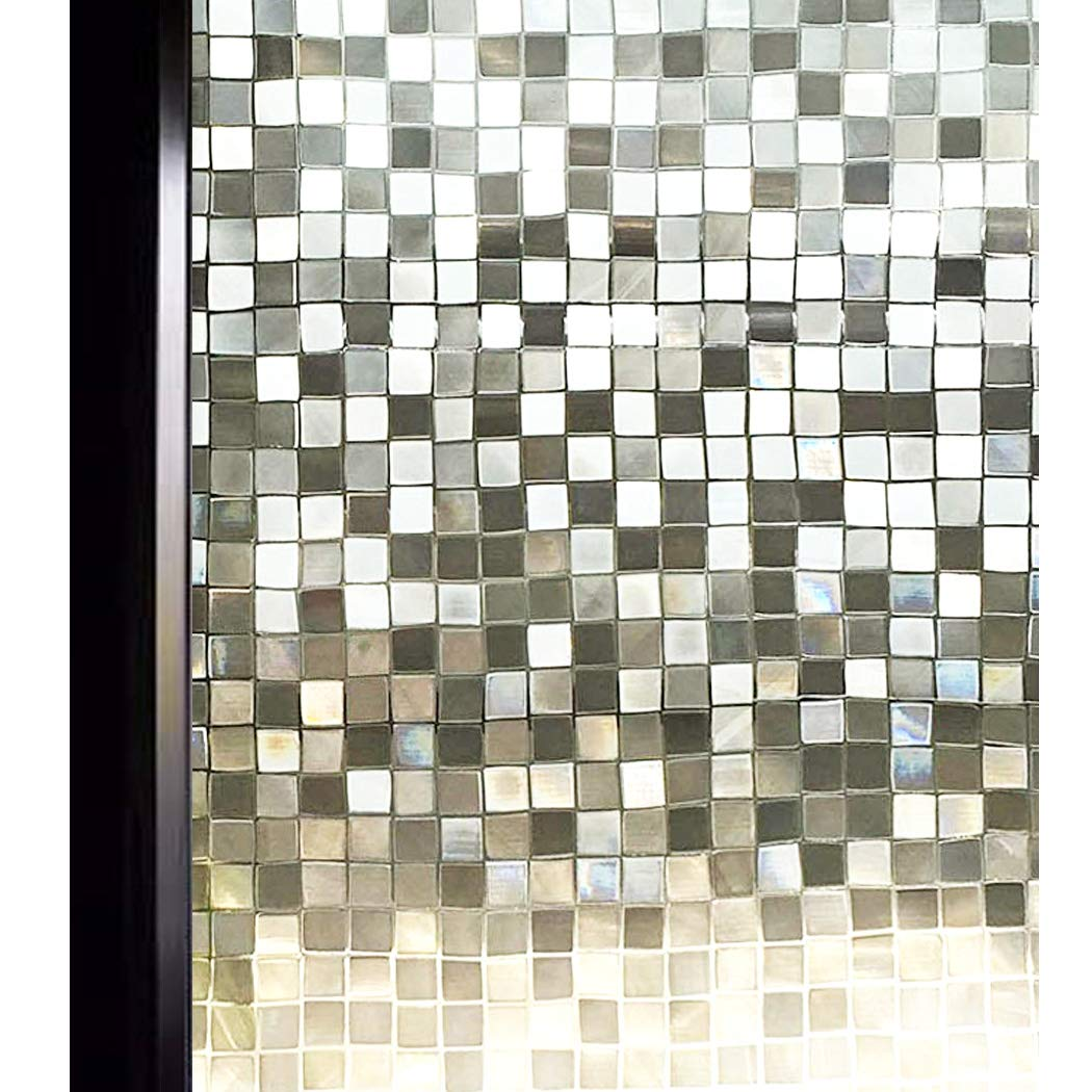 DuoFire 3D Window Film Small Mosaic Privacy Window Film Decorative Film Static Cling Glass Film No Glue Anti-UV Window Sticker Non Adhesive for Home Kitchen Office 17.7in. x 78.7in. DL004