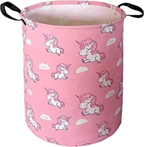ZUEXT 19.7x15.7 Inch Storage Bin with Pink Unicorn Design, Canvas Laundry Hamper, Waterproof Collapsible Clothes Baskets for Baby Girls Nursery Bedroom Toys Storage Xmas Birthday