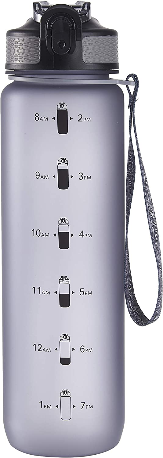 Leak-Proof Non-Toxic BPA-Free EYQ QuickSpout Water Bottle with Time Marker and Carry Strap 32 oz