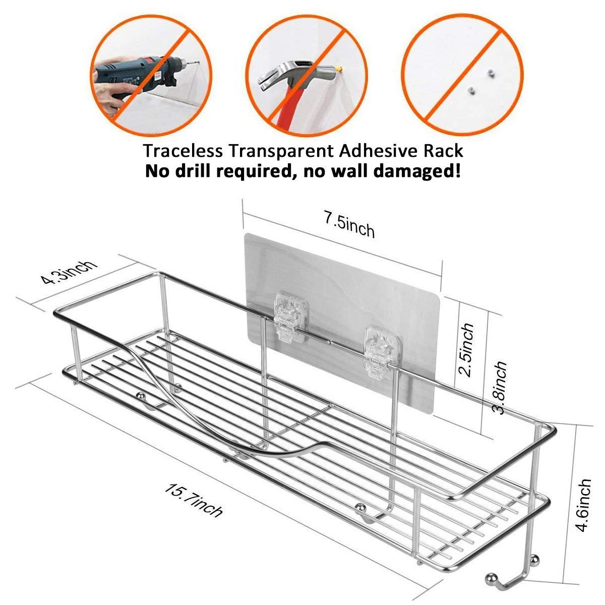 AISHN Bathroom Shelf Stainless Steel Shower Shelf Kitchen Rack Bathroom Storage Organizer with Towel Hooks Wall Mount Adhesive Shower Caddy No Drilling