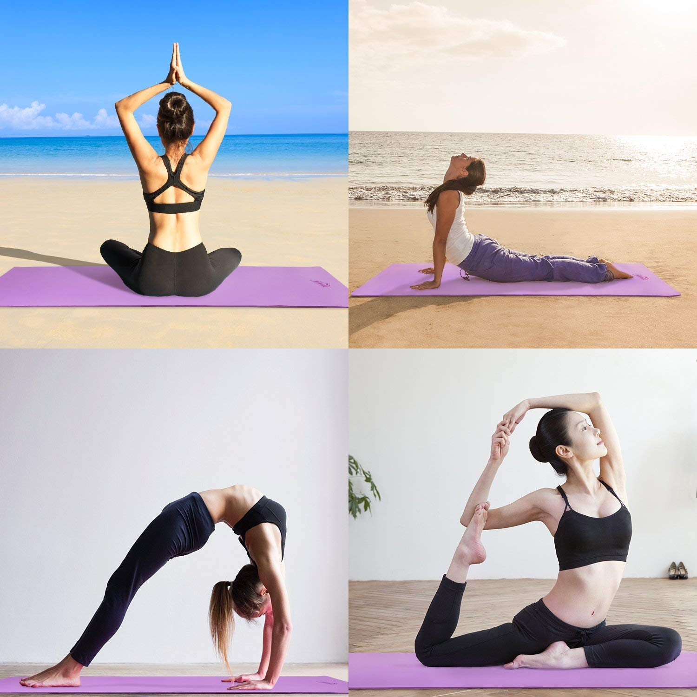 HiHiLL Colchoneta de Yoga, Alfombra de Yoga, TPE, 71 cm x 183 cm x 6 mm, Esterilla Fitness de Ejercicio con Bolsa. Plegable y Fácil de Transportar.