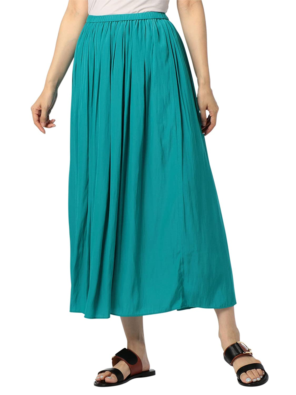 (ノーリーズ) NOLLEY'S 割繊ロング丈ギャザースカート 8-0040-1-06-006 B07CW7RFBZ 38|ライトブルー ライトブルー 38