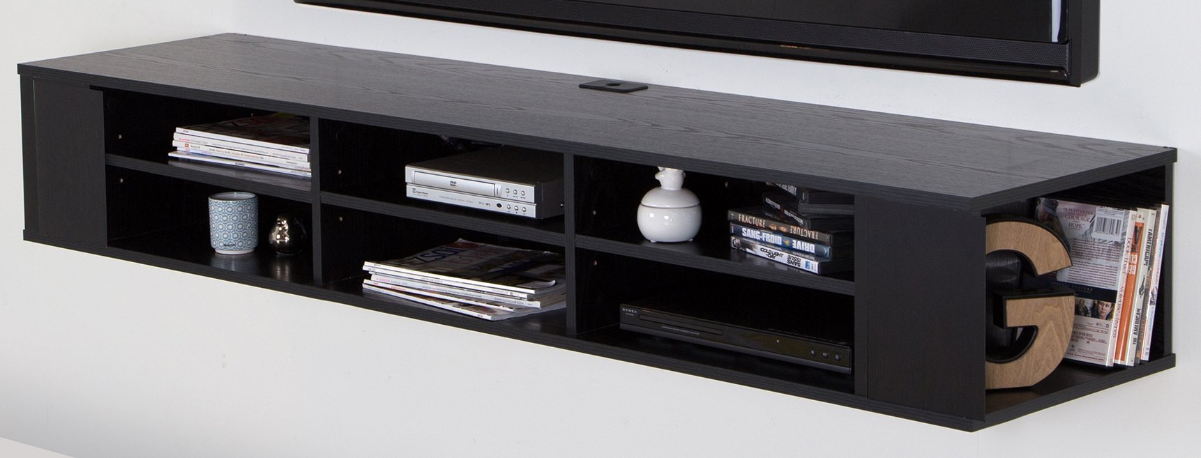 City Life Wall Mounted Media Console - 66'' Wide - Extra Storage - Black Oak - By South Shore by South Shore