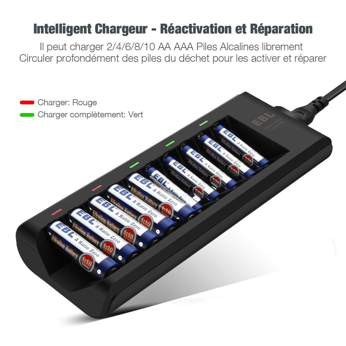 EBL Chargeur de Piles Alicalines AA/AAA Charge de Courant faible avec 10 Slots Indépendant