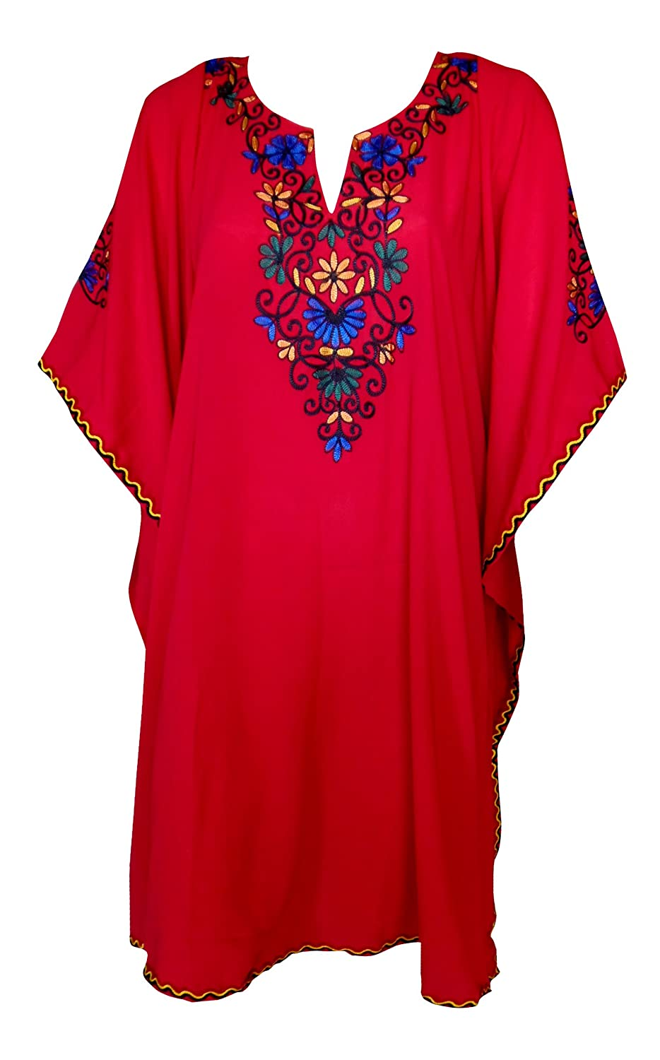 SUNROSE Red Chain Stitched Embroidered Beach Cover up Swim Kaftan Caftan