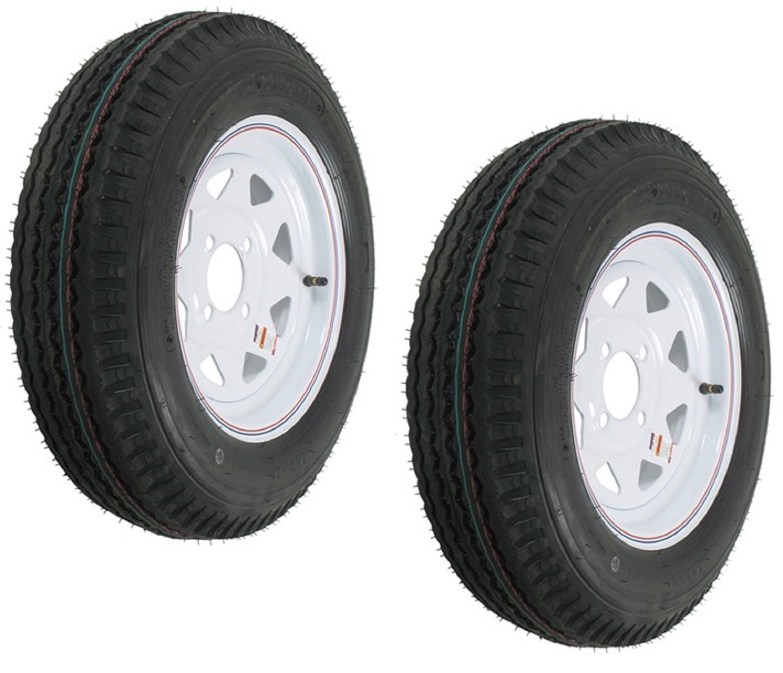 eCustomRim 2-Pack Trailer Tires On White Rims 530-12 5.30-12 5.30 x 12 Load C 4 Lug