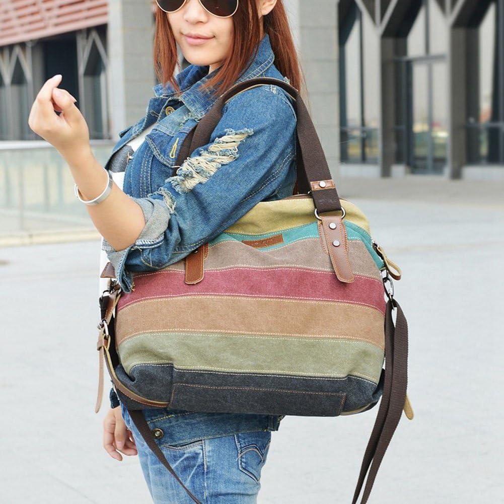 Stripe Canvas Bag Shoulder Bag Cross Body Bag Large Womens Purse