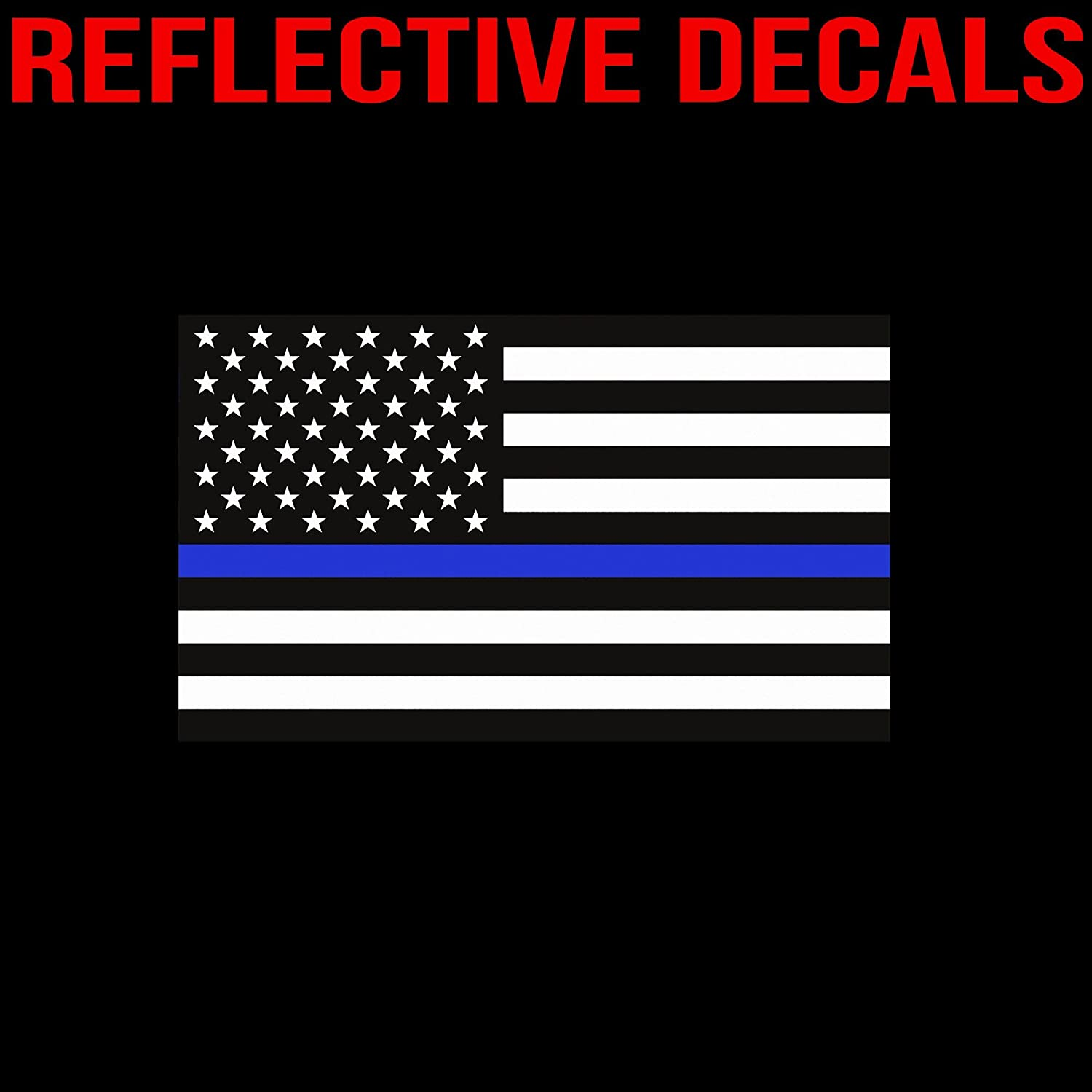 Amazoncom Reflective Thin Blue Line Decal X In American - Boat decalsamerican flag boat decals usa flag boat graphics xtreme digital
