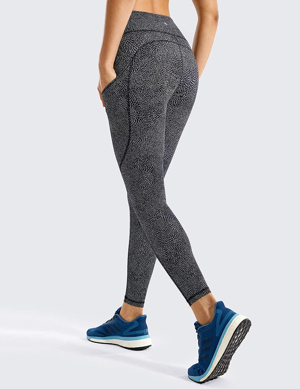 CRZ YOGA Womens Naked Feeling High Waist Out Pocket Stretchy Running Leggings-25 Inches