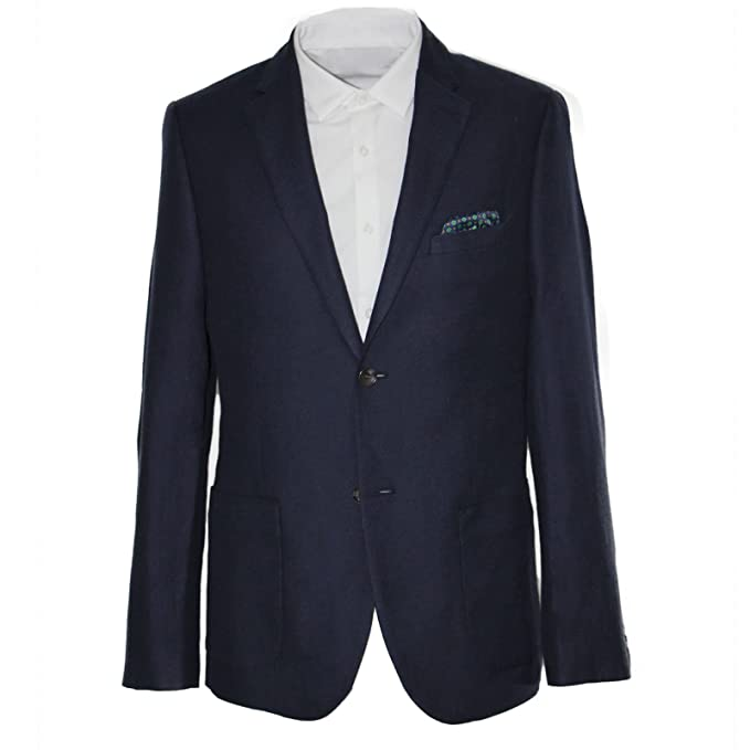 HARRY BROWN Navy Wool Blend Tailored Fit Blazer 38 to 52