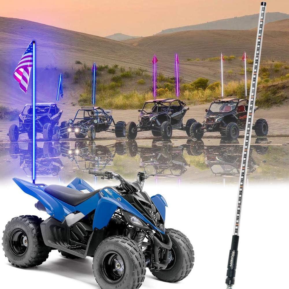 TheOne LED Lighted Whip atv utv off road sand dunes Flexible atv utv Antenna 6FT, Blue