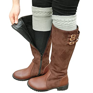 Cozy Design Womens Winter Knitted Boho Pattern Boot Cuffs In Grey