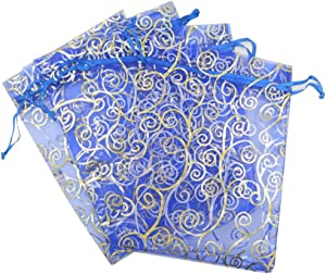 "50 Organza Gift Bags (Blue with Golden Details, 4.5""x6"")"