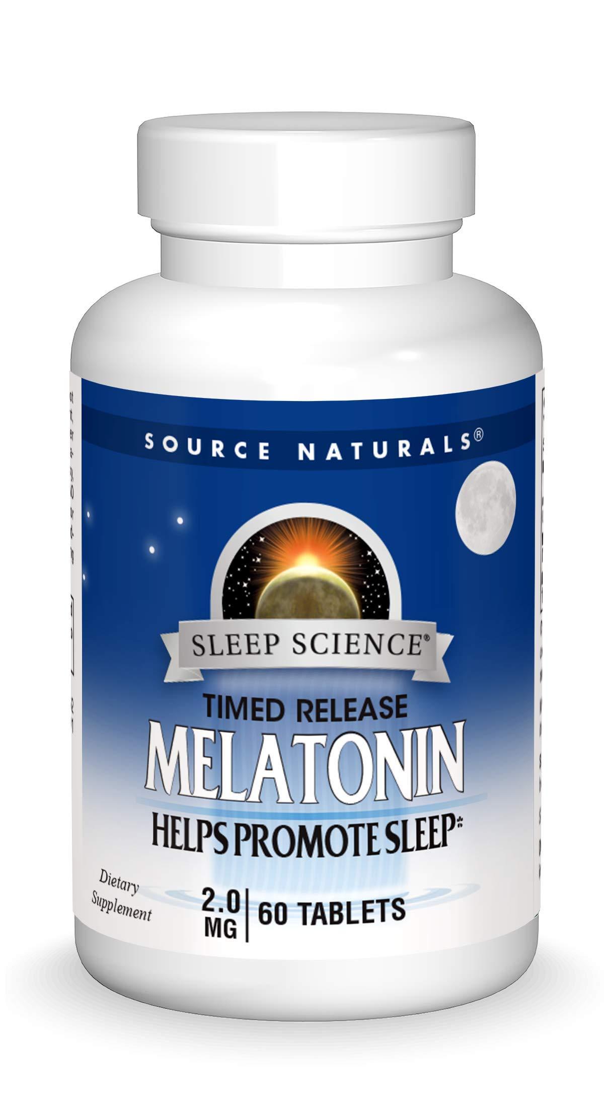 Source Naturals Sleep Science Melatonin 2 mg Helps Promote Sleep - 60 Time Release Tablets