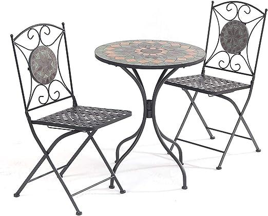 Parcel in the Attic - Conjunto de muebles de jardín (hierro fundido, incluye 1 mesa y 2 sillas plegables), diseño de mosaico: Amazon.es: Jardín