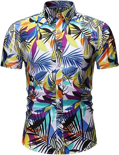 YEBIRAL Camisa Hawaiana para Hombre Verano Casual Formales ...