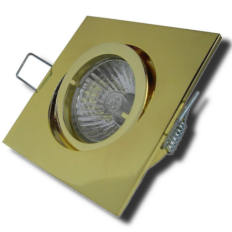 9er Set Decken Einbaustrahler Luisa   230Volt   Farbe  Gold Warmlicht   Halogen 35Watt   Dimmbar Schwenkbar  25°   GU10 Sockel EEK D