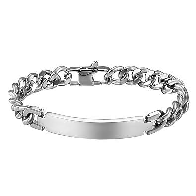 12aa2bc011571 JewelryWe Bijoux Bracelet Polissage Homme Gravure Personnalisation  Classique Gourmette Chaîne de Main Acier Inoxydable Fantaisie Couleur
