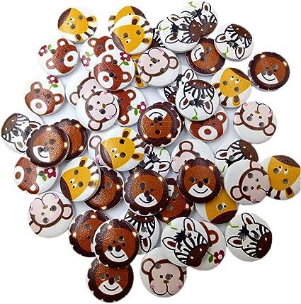 MagiDeal 50 Unidades Redondas Animales Patrón Madera Botones, DIY Botones para Coser y artesanía, para Camisa de Punto Chaquetas