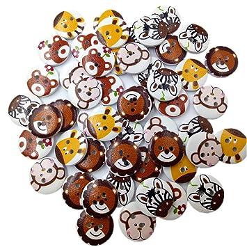 MagiDeal 50 Stück Runde Tier Muster Holzknöpfe,DIY Buttons für Nähen ...