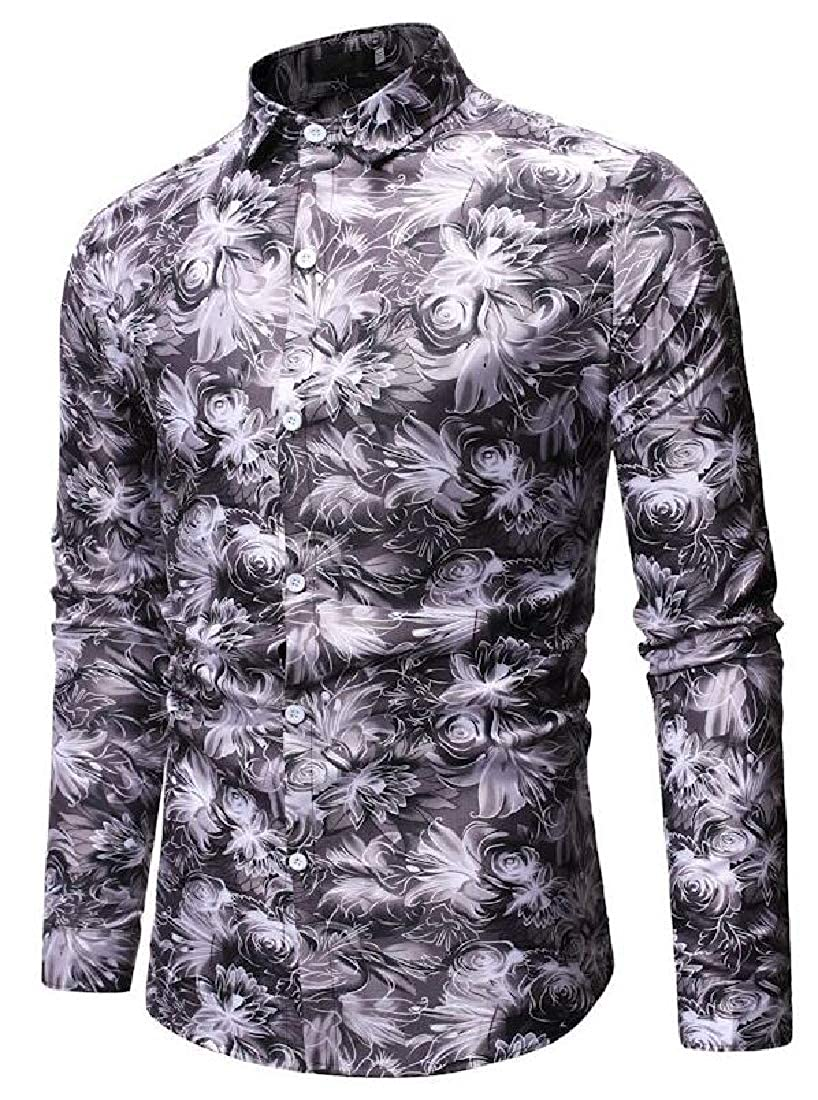 Domple Mens Long Sleeve Button Up Slim Printed Casual Dress Work Shirt